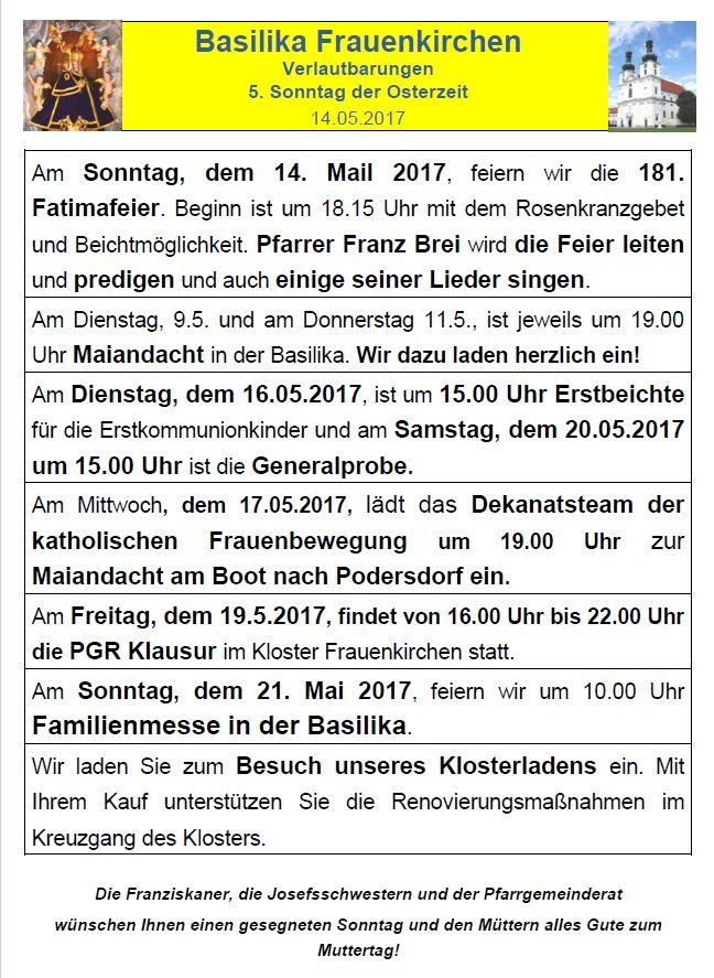 Verlautbarungen 5. Ostersonntag Basilika Frauenkirchen