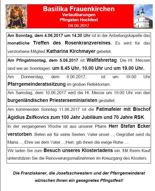 Verlautbarungen Pfingsten 2017